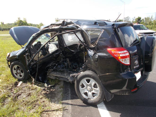 A Toyota RAV4 that was struck broadside Wednesday in Union County, killing an 80-year-old Ostrander man