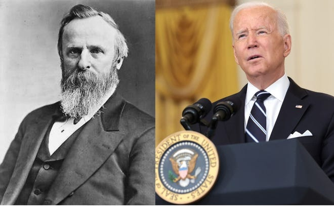 President Rutherford B. Hayes (Library of Congress) and President Joe Biden (Anna Moneymaker/Getty Images).