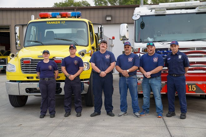 From left to right, Lydia Citta and Scott Nelson, of the Bismarck Rural Fire Department; and Colton Gutknecht, Mike Walters, Paul Riley and Juan Wagner, of the Williston Fire Department.
