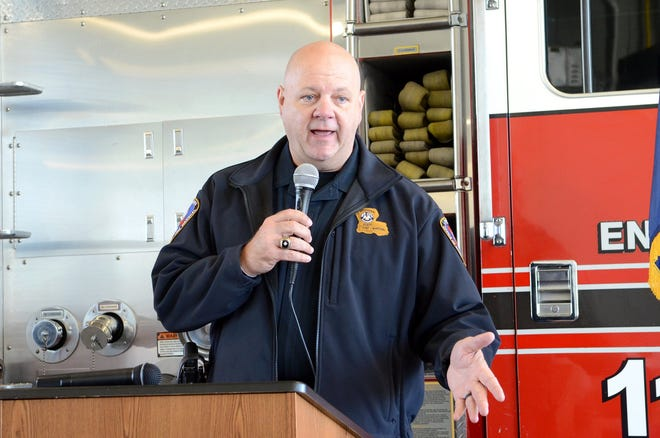 Louisiana State Fire Marshal Butch Browning addresses the crowd at the grand opening for the Donaldsonville Fire Station on Dec. 5, 2019.