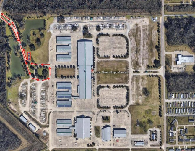 Ascension Parish Government released this map of the Lamar-Dixon Expo Center in Gonzales to show the entry and exit point.