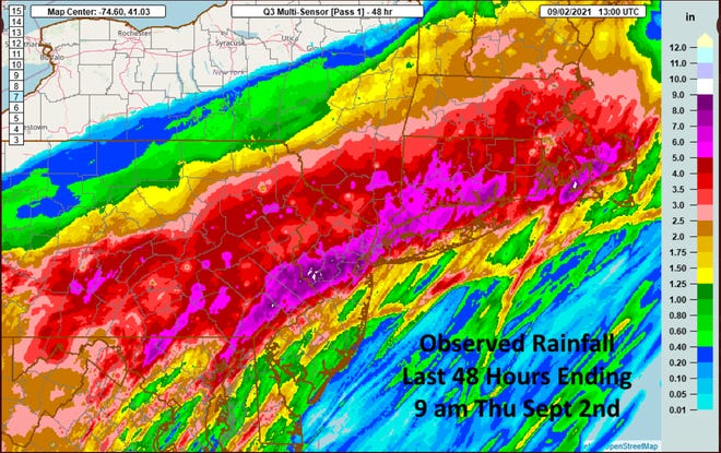 This graphic from the National Weather Service shows the observed rainfall caused by the remnants of Hurricane Ida.