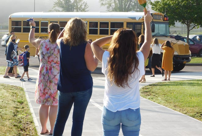 Herkimer Elementary School teachers and staff members were on hand to welcome students back to school last fall. Opening day is set for Sept. 7 this year.
