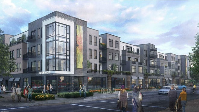 A rendering of the planned apartment complex on Pete Ellis Drive.