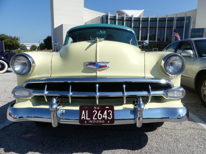 Frank and Cindi Guzik's 1954 Chevrolet at Simon Skjodt Assembly Hall in August.
