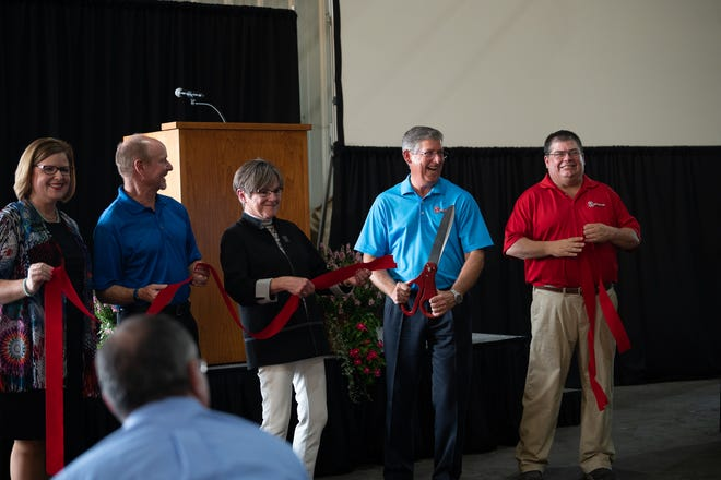 Gov. Laura Kelly, president and CEO of Superior Boiler Works Doug Wright, and key executive staff cut the ribbon for the Grand Opening of the Hutchinson water tube facility. Superior Boiler Works celebrated the grand opening of the facility for the division which relocated from Richmond, Virginia to Hutchinson on Sept. 1, 2021.