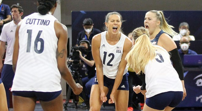 Former Bradley and Kewanee volleyball player Lindsay Stalzer (12) celebrates during a match with the U.S. women's volleyball team at the NORCECA Continental Championship from Aug. 26-31, 2021, in Guadalajara, Mexico.