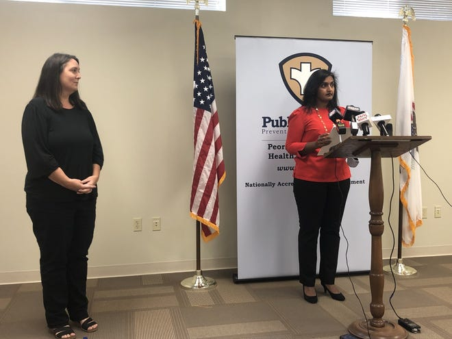 Peoria County public health administrator Monica Hendrickson speaks on Thursday, Sept. 2, 2021, about COVID cases around the Peoria area during a health department news conference held at Heartland Health Services' administrative offices in Peoria.