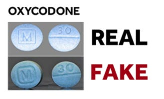 This image provided by the Drug Task Force shows the difference between the real and fake oxycodone that has been circulating around the community.