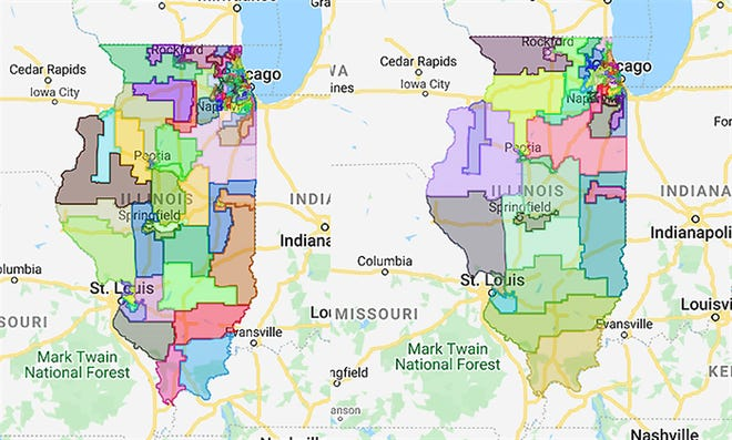 The Illinois House and Senate maps passed Tuesday night are pictured in the form of Google Maps documents released by the Illinois General Assembly this week.