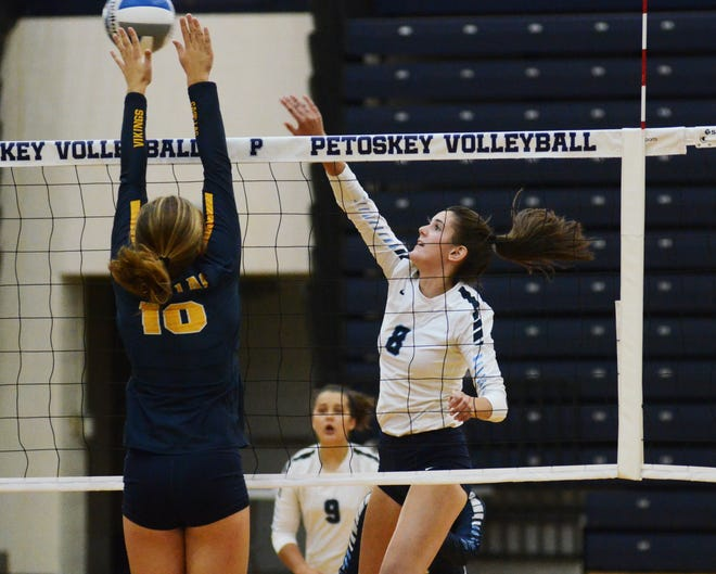 Faith Bailey and the Petoskey volleyball team took a BNC opening loss at Cadillac Wednesday.