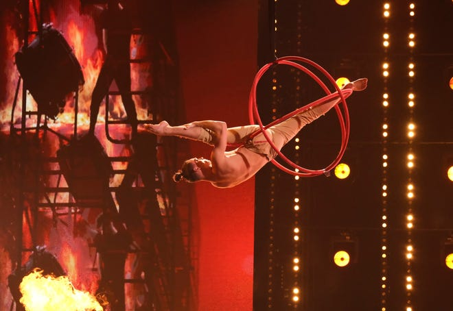 America's Got Talent contestant Aerialist Aidan Bryant performs during the Semifnals on Aug. 31, 2021.