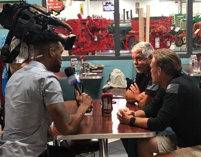 'Fox & Friends' reporter Lawrence Jones interviews, from left to right, veterans Steven Desrochers and Curtis Hise during the live 'Breakfast with Friends' segment at Keystone Grill in Colonial Heights, Va. on Sept. 1, 2021.