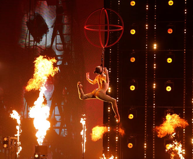 Prince George, Va. 16-year-old self-taught Aerialist Aidan Bryant performs on America's Got Talent during the Semifinals on Aug. 31, 2021 at the Dolby Theatre in Hollywood, California.