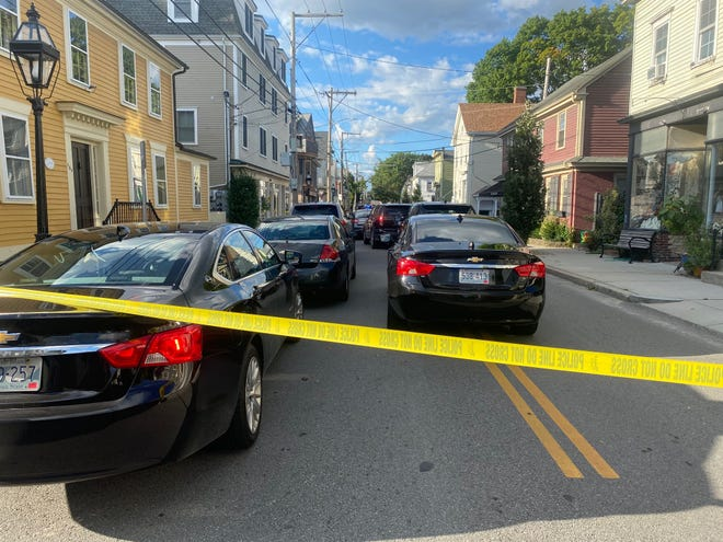 Crime-scene tape blocks off Water Street in Warren after Bristol police officers exchanged gunfire with the suspect in a fatal shooting on Sept. 2.