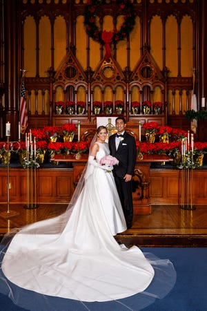 Liesel Marie Schmader and Dr. Harmin Jeet Chima were married on Dec. 19 at the Old Stone Church in Cleveland.