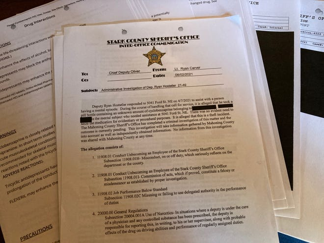An investigation file from the Stark County Sheriff's Office and the Mahoning County Sheriff's Office sheds light on former deputy Ryan Hostetler's drug theft case.