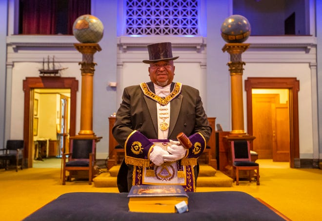 Kenneth A. Washington stands inside the Scottish Rite League in South Bend. Washington was recently named the most worshipful grand master, or statewide leader of the Prince Hall Masons.