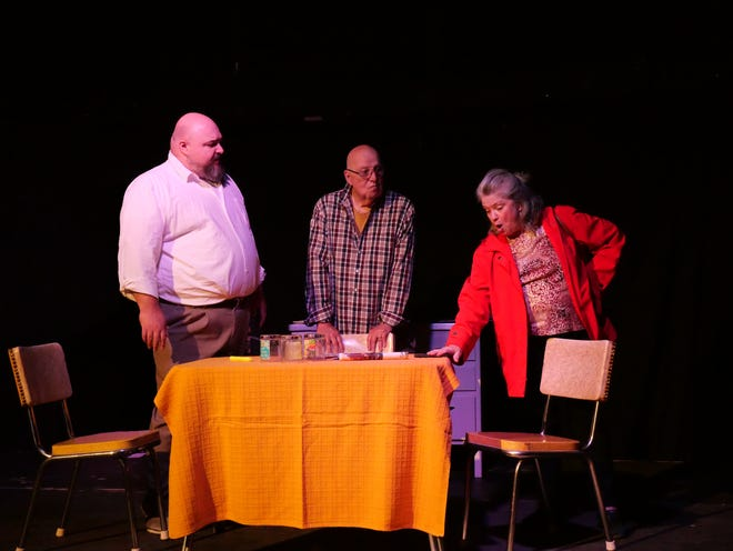 """Dave Carew, left, Max Sala and Marilyn Haslett rehearse for the Beckwith Theatre Company's production of """"The Outgoing Tide"""" that will be presented Sept. 9-19, 2021, at the theater in Dowagiac."""