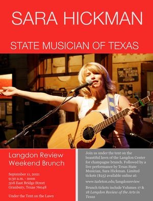 A performance by Texas State Musician Sara Hickman will highlight the 2021 Tarleton State University Langdon Review Weekend in historic downtown Granbury on Friday and Saturday, Sept. 10 and 11.