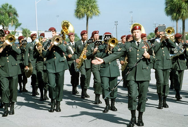 Members of the 82nd Airborne Division band perform during the U.S. Special Operations Command activation ceremony.