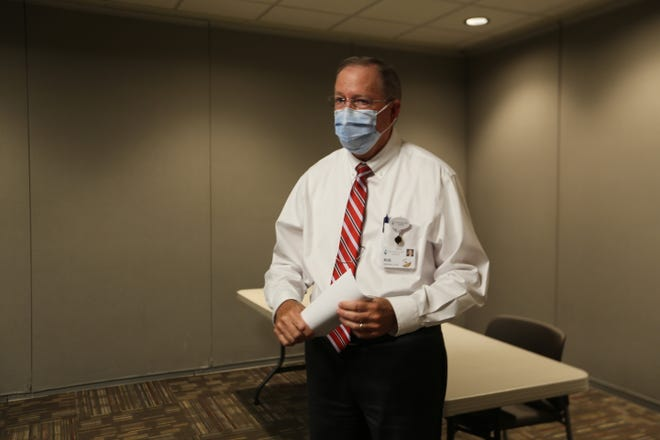 Stormont Vail president and CEO Robert Kenagy, pictured here, spoke with members of the media Thursday afternoon to announce a new vaccine requirement for Stormont workers.
