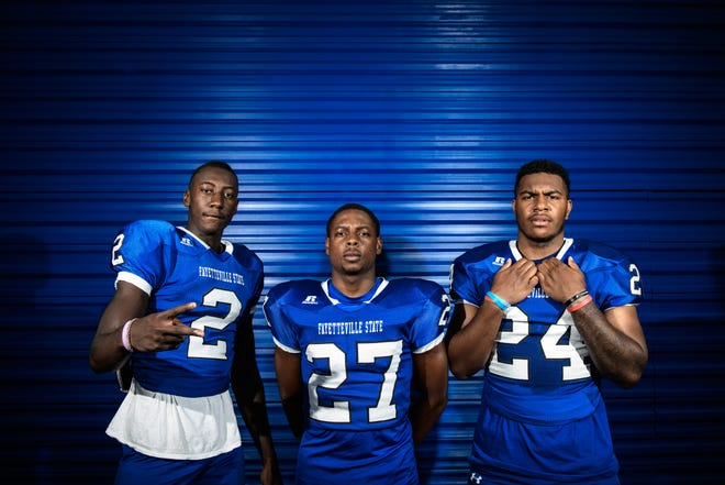 Fayetteville natives Joshua Williams (2), Jordan Ferguson (27) and Jerome Bentley (24) are a part of Fayetteville State's vaunted defense. Williams has garnered attention from NFL scouts throughout the offseason.
