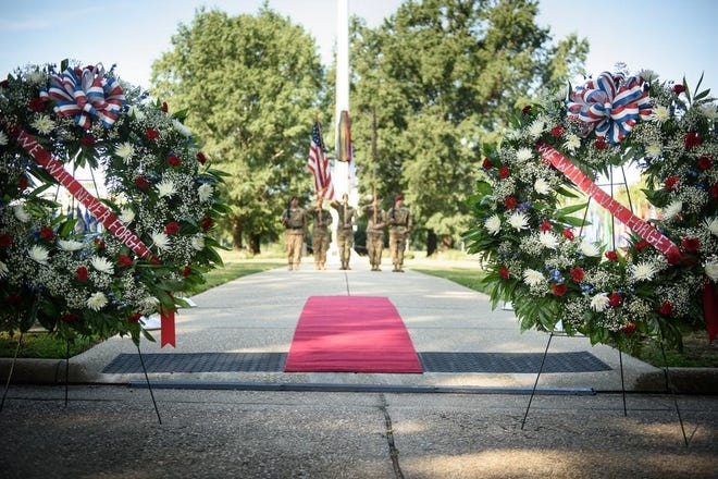 The color guard stands in front of Fort Bragg's main post flagpole during a 9/11 remembrance ceremony in 2016. The annual remembrance ceremony will be held in the same location this year.