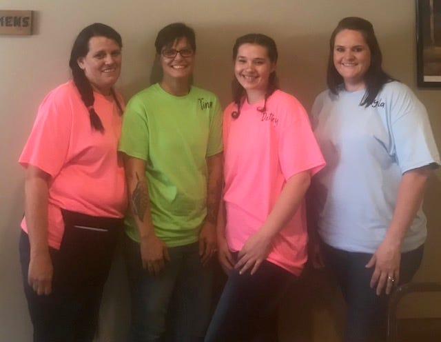 PIctured are the owner and her 3 employees: Vernonica, owner Tina Stull Peeper, Destiny and Kayla.