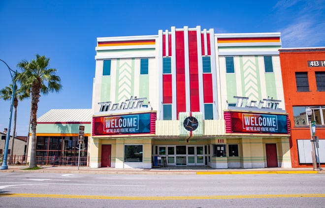 The interior of the Martin Theatre in downtown Panama City is pretty much the same as it was a few weeks after Hurricane Michael hit. All the carpets and ceilings have been ripped out, walls stripped to studs and theatre seating removed. The outside, shown on Sept. 2, 2021, features a new roof and a new digital marquee over the front entrance.