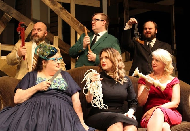 """Fort Smith Little Theatre is reopening on Sept. 23 with its production of """"Clue."""" Shown are cast members (top row) Brett Short, Eric Wells, John Hall, (bottom row) Micki Voelkel, Monica Longoria and Tina Dale."""
