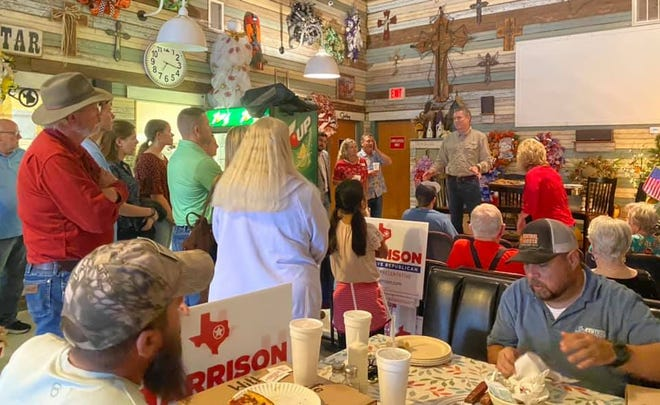 Texas House District 10 candidate Brian Harrison speaks to voters at a meet-and-greet in Maypearl on Aug. 17. Harrison squeaked past former state Rep. John Wray to win a plurality of votes in Tuesday's special election, and Harrison and Wray will advance to a runoff.