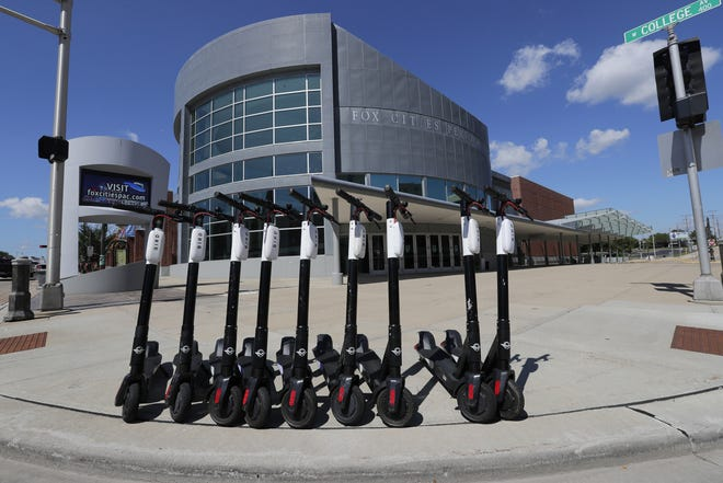 Bird scooters are available for rent along College Avenue in Appleton.