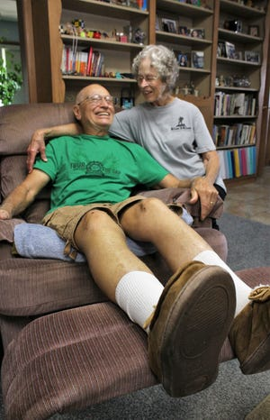 This is as close as Bo Green wants to get to a recumbent bike. He is healing a broken right femur after a recent bicycle crash near his home, delaying his plans to ride 80 miles in a day at age 80. His wife, Becky, has been his longtime partner in outdoor adventure.