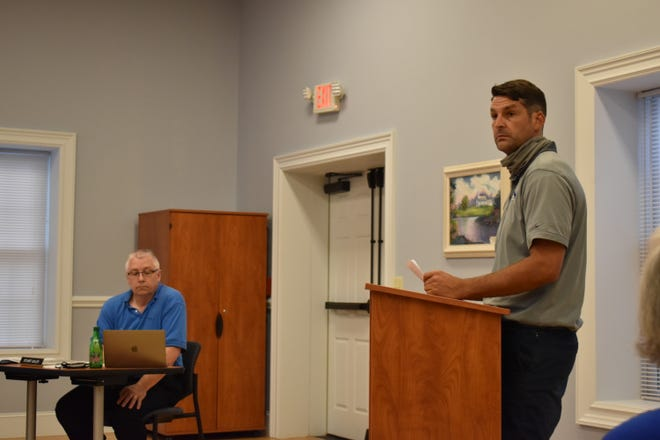 Jesse Gardner, an engineer contracted by developer Mars Hill Crossroads, LLC, was on hand to request a rezoning for the developer's proposed project along Little Ivy Church Road during the Mars Hill Town Board's Aug. 30 meeting.