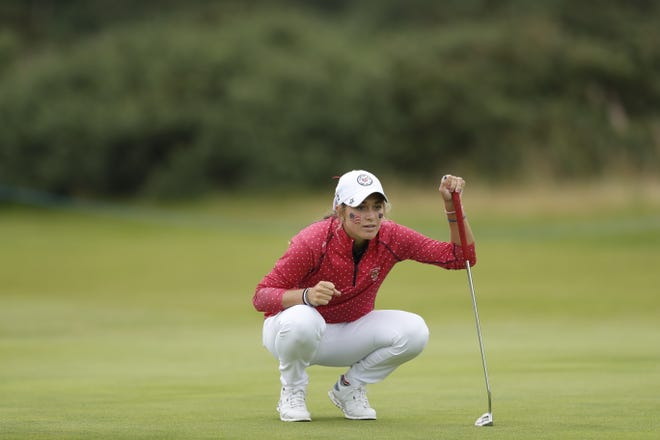 USA Team member Rachel Kuehn checks her putt on the seventh green during play at the 2021 Curtis Cup at Conwy Golf Club in North Wales, United Kingdom on Thursday, Aug. 26, 2021. (Oisin Keniry/USGA)
