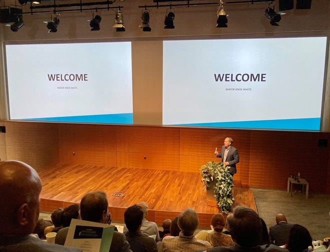"""Greenville Mayor Knox White welcomes 250 attendees to the city's launch event for """"From Here You Can Change the World,"""" a new marketing initiative aimed at recruiting and keeping new businesses in the city."""