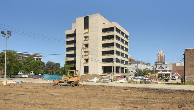 The site of the future City View apartments near the corner of S. Capitol Avenue and W. Lenawee Street in downtown Lansing, pictured Thursday, Sept. 2, 2021.