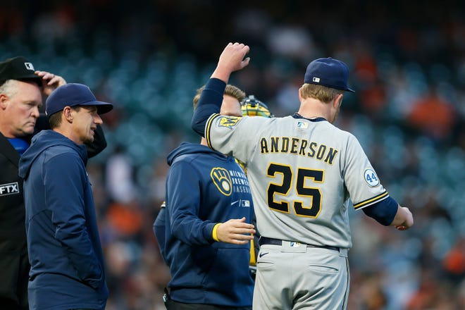 Pitcher Brett Anderson was hit by a line drive off the bat of Brandon Crawford of the San Francisco Giants on Sept. 1.
