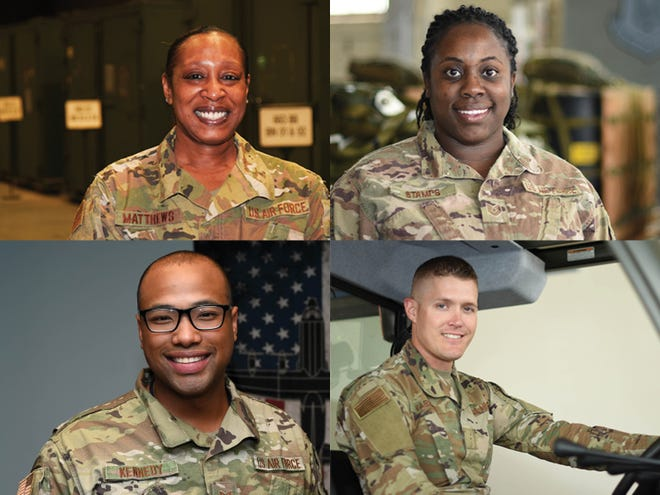 Members of the 908th are, clockwise from top left, Master Sgt. Vickey Matthews, Technical Sergeant Lateriya Stamps, Airman Cody Varner, and Technical Sergeant Marlin Kennedy.