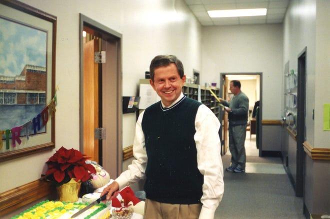 Benny Bills celebrating his birthday at work.