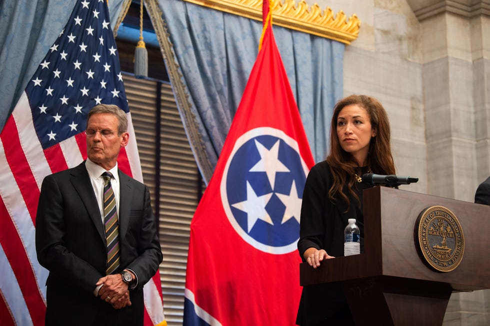Education Commissioner Penny Schwinn, alongside Gov. Bill Lee, defends how the state is handling reopening schools amid the ongoing COVID-19 pandemic during a press conference at Tennessee State Capitol in Nashville on Sept. 2, 2021.