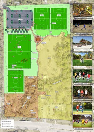 Bonita Springs is planning to build a new soccer complex, complete with restrooms and a concession stand, near the Bonita Springs Dog Park. The rendering is the first step to get a cost estimate, timeline and complete designs.
