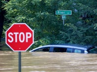 A submerged car on River Drive at Marcellus Place in Passaic Thursday morning, September 2, 2021.