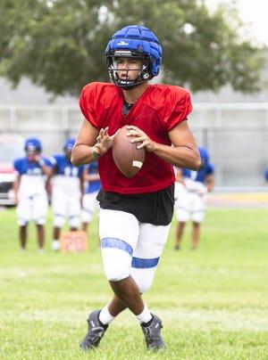 Chandler Prep quarterback Blaine Hipa at practice in Chandler, AZ, Aug. 31, 2021.