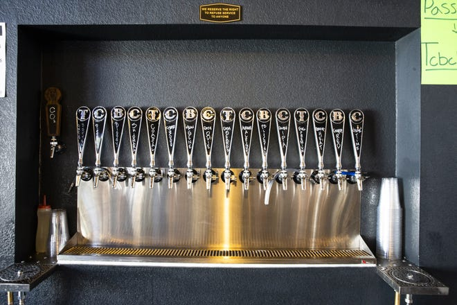 Many on tap beer options are offered at TCBC Brewing Company in Litchfield Park, Ariz., Sept. 1, 2021.