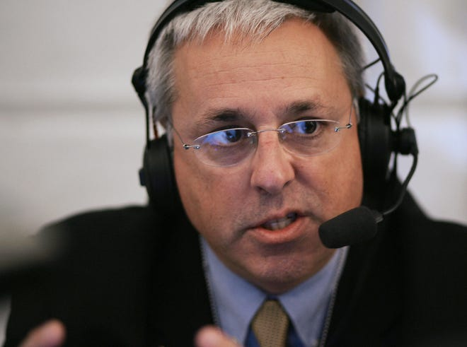 Marc Bernier of station WNDB of Orlando, Florida, during a radio interview Oct. 24, 2006. The outspoken anti-vaccine radio host died of COVID-19 last week. (Mandel Ngan/AFP/Getty Images/TNS)