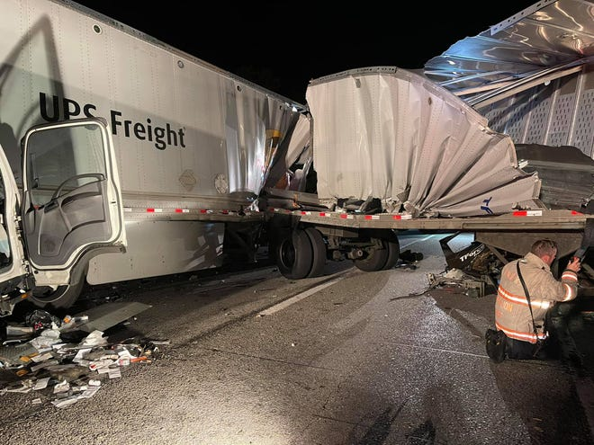 First responders are at the scene of a multi-vehicle crash on Interstate 83 northbound near the Strinestown exit, Thursday, Sept. 2, 2021. Photo: Newberry Township Fire Department