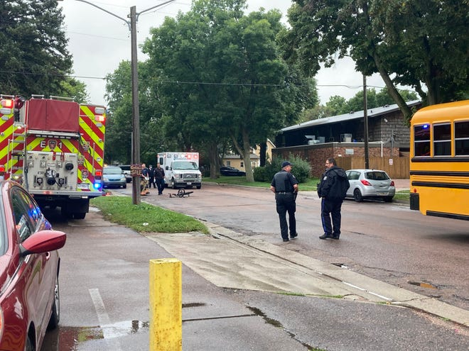 Sioux Falls Police Department officers on scene at a crash at the 300 block of S Summit Avenue on Thursday, September 2, 2021.