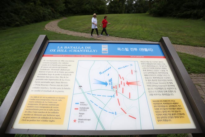 The first-of-its-kind bilingual Civil War Trails sign at Ox Hill Battlefield Park in Chantilly, Virginia, tells the story of the battle in Korean and Spanish.